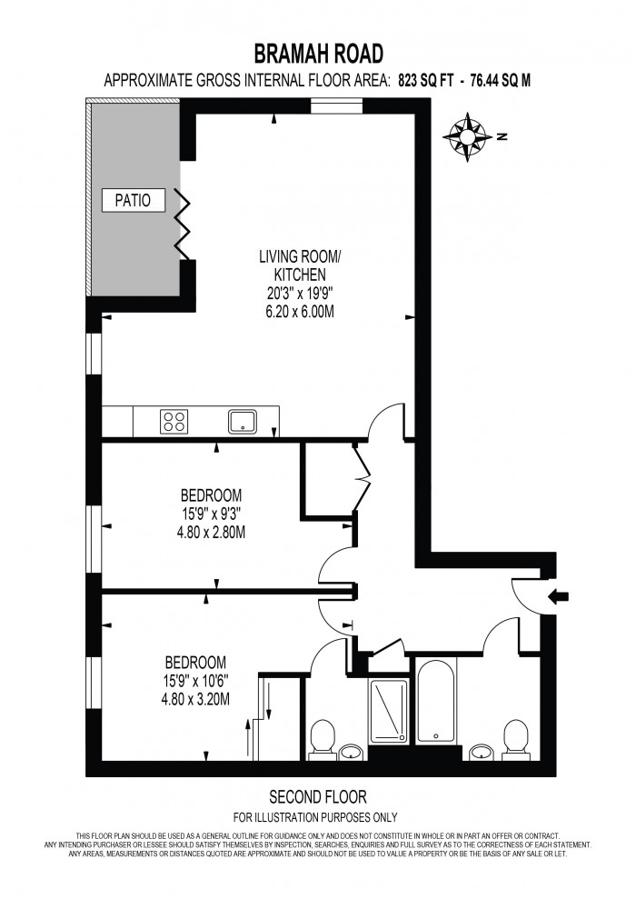 Floorplan for BRAMAH ROAD, OVAL QUARTER