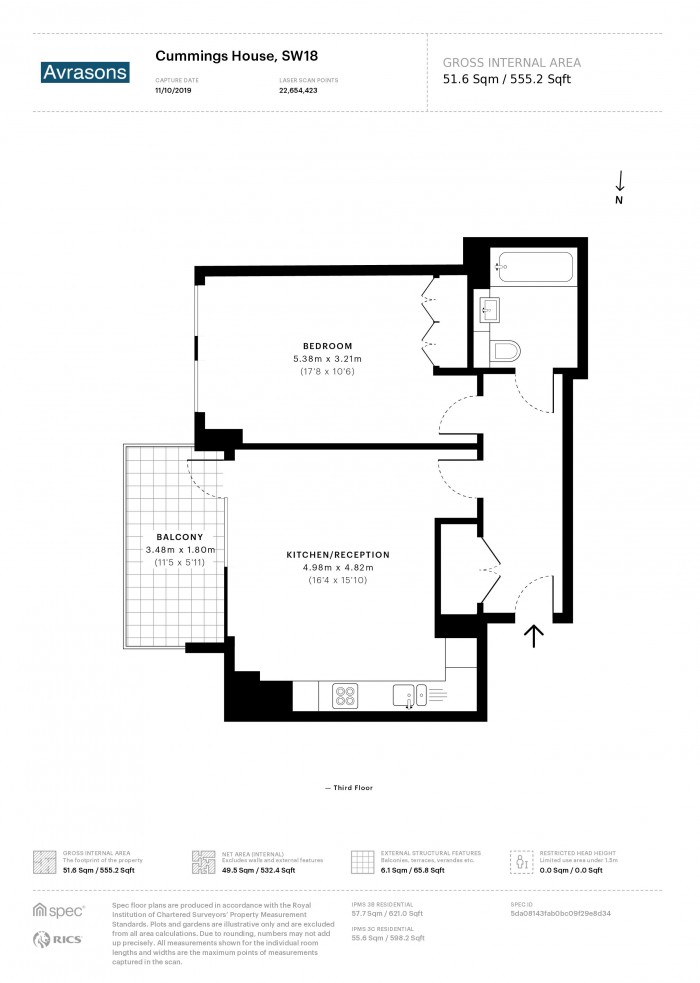 Floorplan for Rams Quarter ,Wandsworth Town